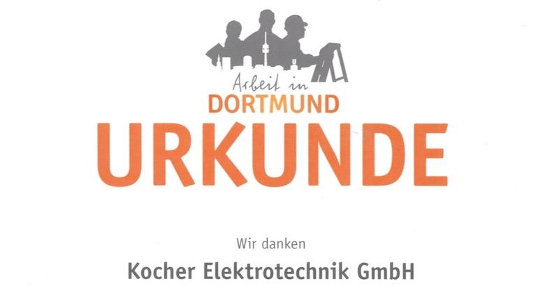 Arbeitgeber, Ausbildung, Initiative für Arbeit, Ehrung, Urkunde, Kocher, Elektrotechnik, Dortmund