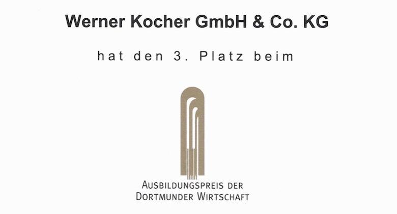 Urkunde Ausbildungspreis Dortmund Kocher Elektrotechnik